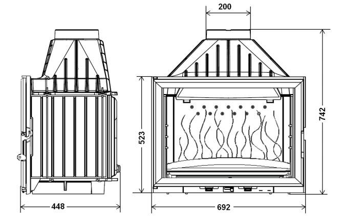 Ugradbeno ložište na drva Grande Vision 700, nacrt