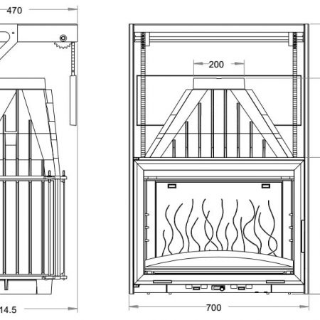Ugradbeno ložište na drva Grande Vision 700 s giljotinom, nacrt