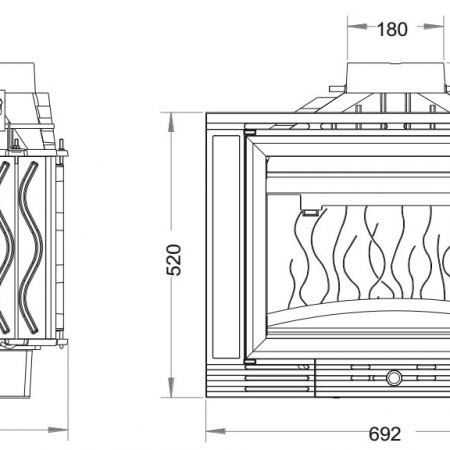 Ugradbeno ložište na drva Minos 700, nacrt