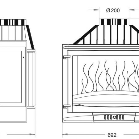 Ugradbeno ložište na drva Selenic 700, nacrt